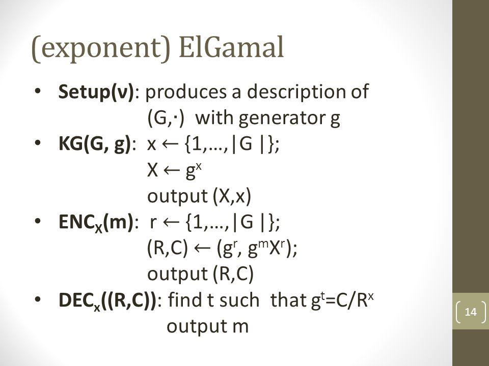 (exponent) ElGamal 14