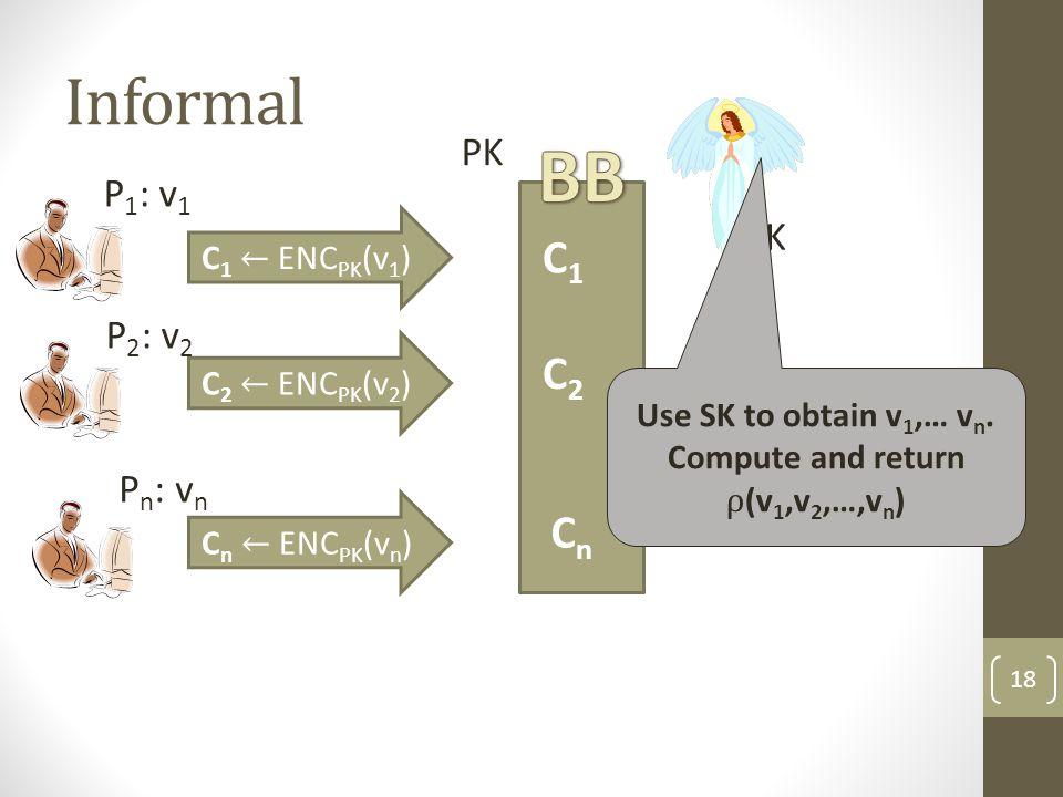 Informal 18 P 1 : v 1 P 2 : v 2 P n : v n C1C1 C2C2 CnCn SK PK