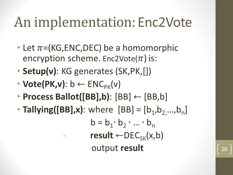 An implementation: Enc2Vote 20
