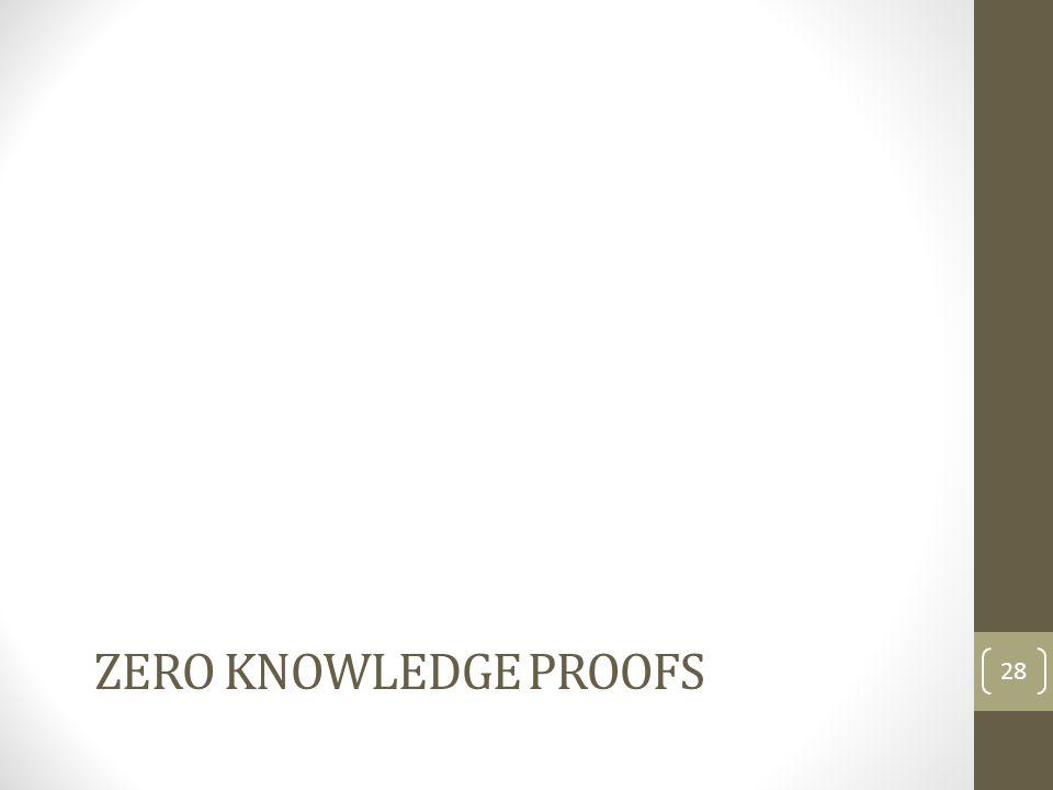 ZERO KNOWLEDGE PROOFS 28