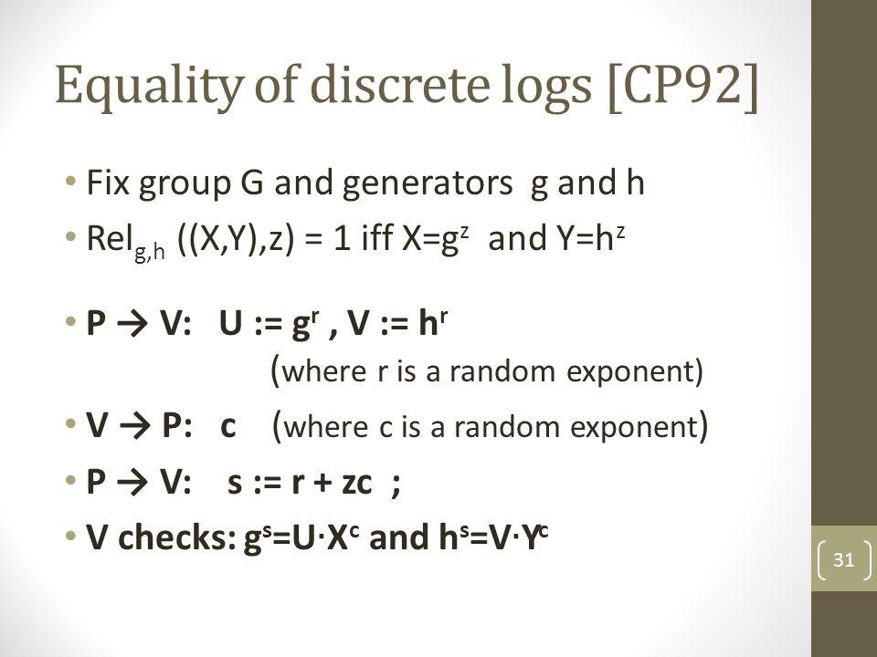 Equality of discrete logs [CP92] 31