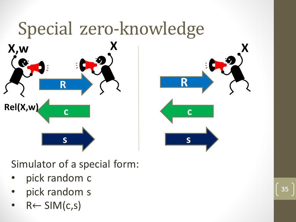 Special zero-knowledge 35 R c s Rel(X,w) X,w X R c s X