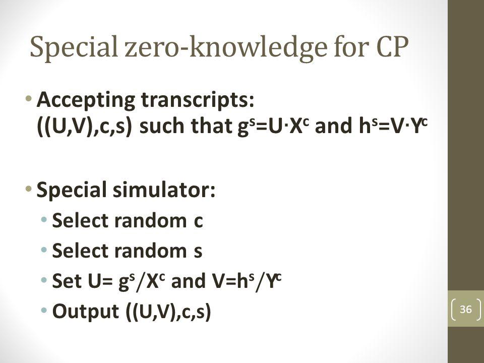 Special zero-knowledge for CP 36