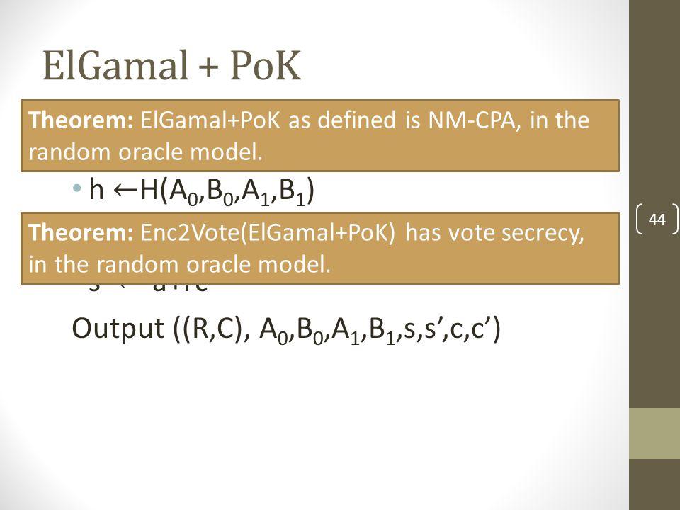 ElGamal + PoK 44 Theorem: ElGamal+PoK as defined is NM-CPA, in the random oracle model.