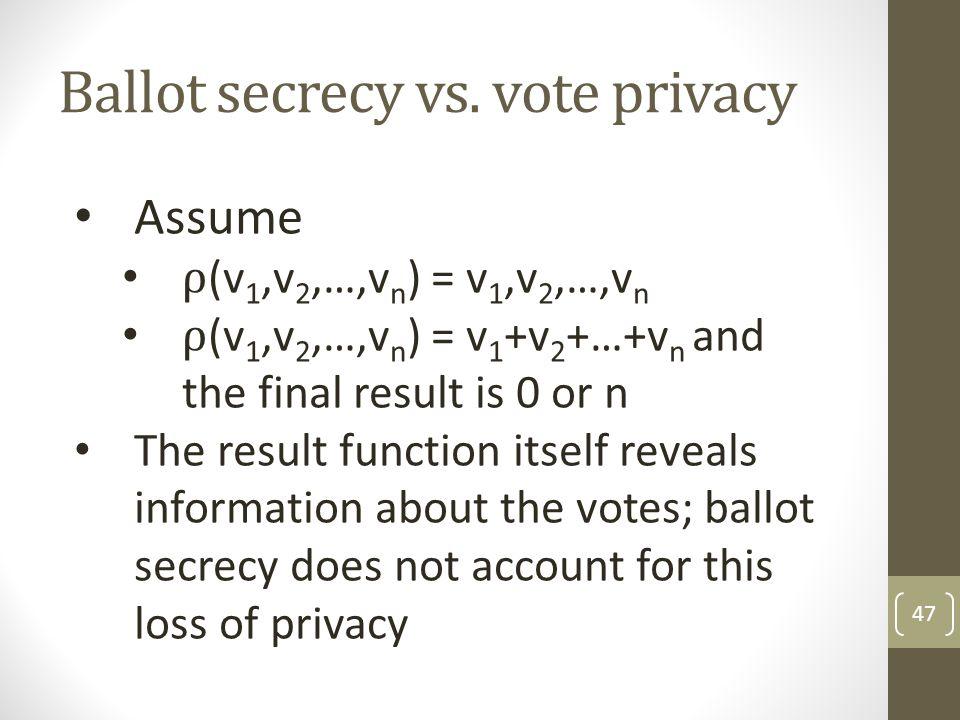 Ballot secrecy vs. vote privacy 47