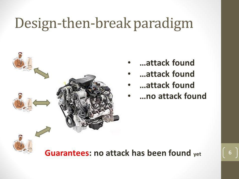 Design-then-break paradigm 6 …attack found …no attack found Guarantees: no attack has been found yet