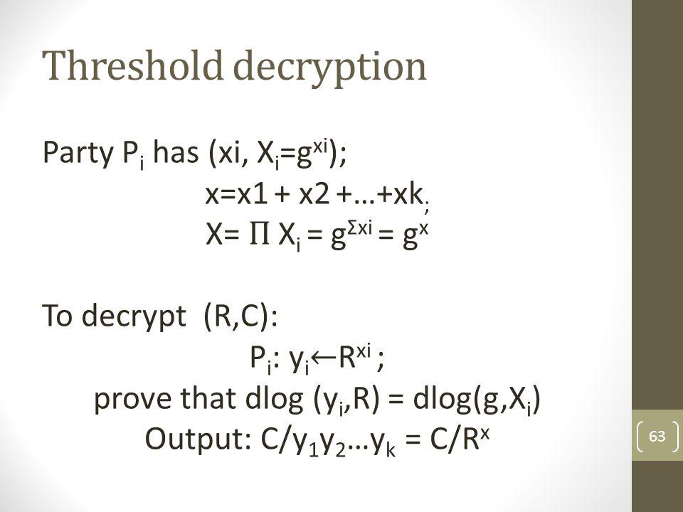 Threshold decryption 63