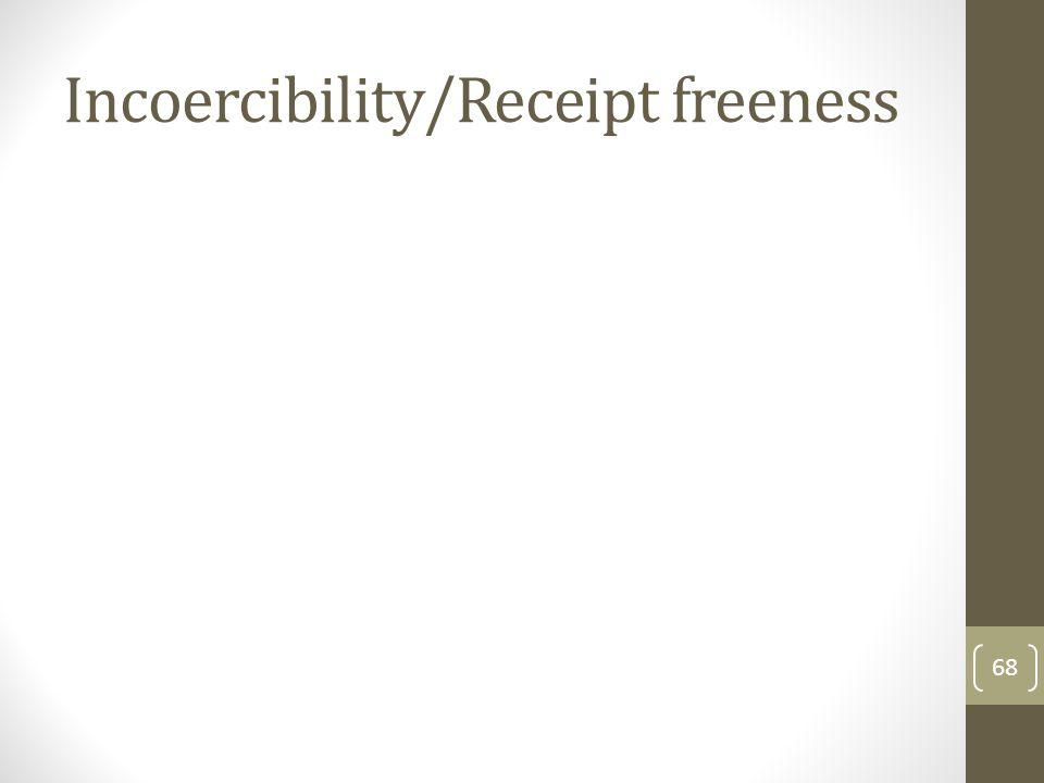 Incoercibility/Receipt freeness 68