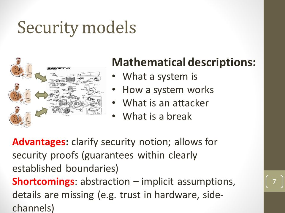 Security models 7 Mathematical descriptions: What a system is How a system works What is an attacker What is a break Advantages: clarify security noti