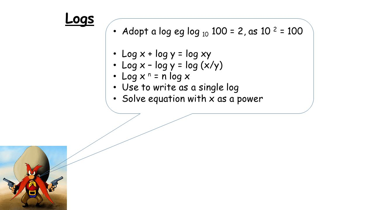 Logs Adopt a log eg log 10 100 = 2, as 10 2 = 100 Log x + log y = log xy Log x – log y = log (x/y) Log x n = n log x Use to write as a single log Solve equation with x as a power