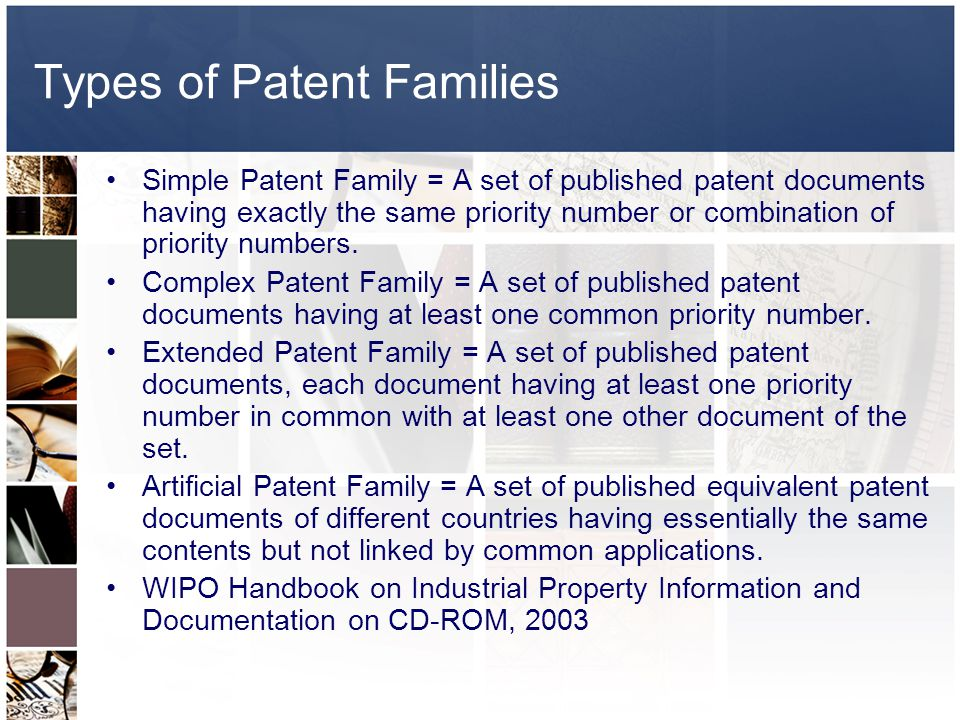 Types of Patent Families Simple Patent Family = A set of published patent documents having exactly the same priority number or combination of priority numbers.