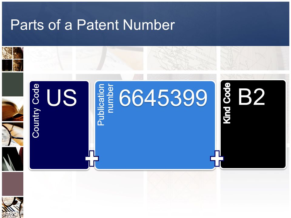 Parts of a Patent Number Country Code US Publication number 6645399 B2