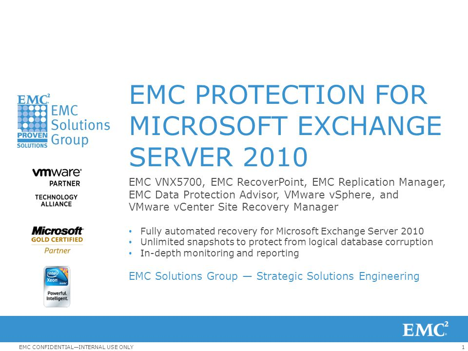 32EMC CONFIDENTIAL—INTERNAL USE ONLY SRM Protection Groups An SRM protection group is a collection of virtual machines that all use the same datastore group (the same set of replicated LUNs) and that all fail over together.