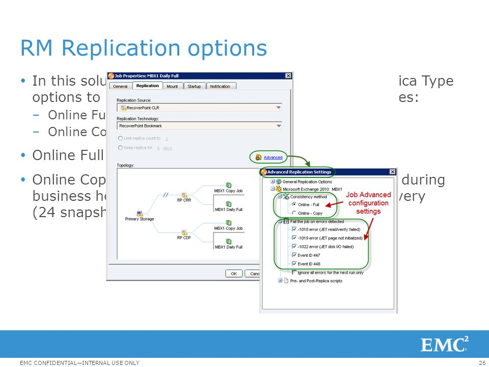 26EMC CONFIDENTIAL—INTERNAL USE ONLY RM Replication options  In this solution, RM jobs are configured with two Replica Type options to protect the Ex