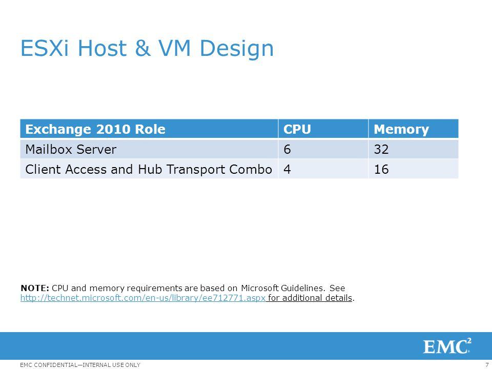8EMC CONFIDENTIAL—INTERNAL USE ONLY Mailbox Server Role Design