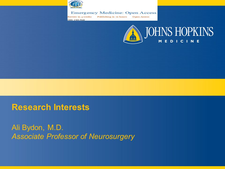 Research Interests Ali Bydon, M.D. Associate Professor of Neurosurgery