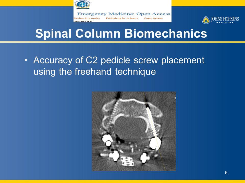 Spinal Column Biomechanics Biomechanical impact of C2 pedicle screw length in an atlantoaxial fusion construct 7