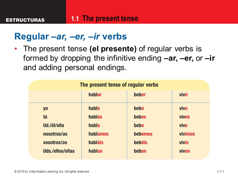 1.1 The present tense © 2015 by Vista Higher Learning, Inc. All rights reserved.1.1-1 Regular –ar, –er, –ir verbs The present tense (el presente) of r