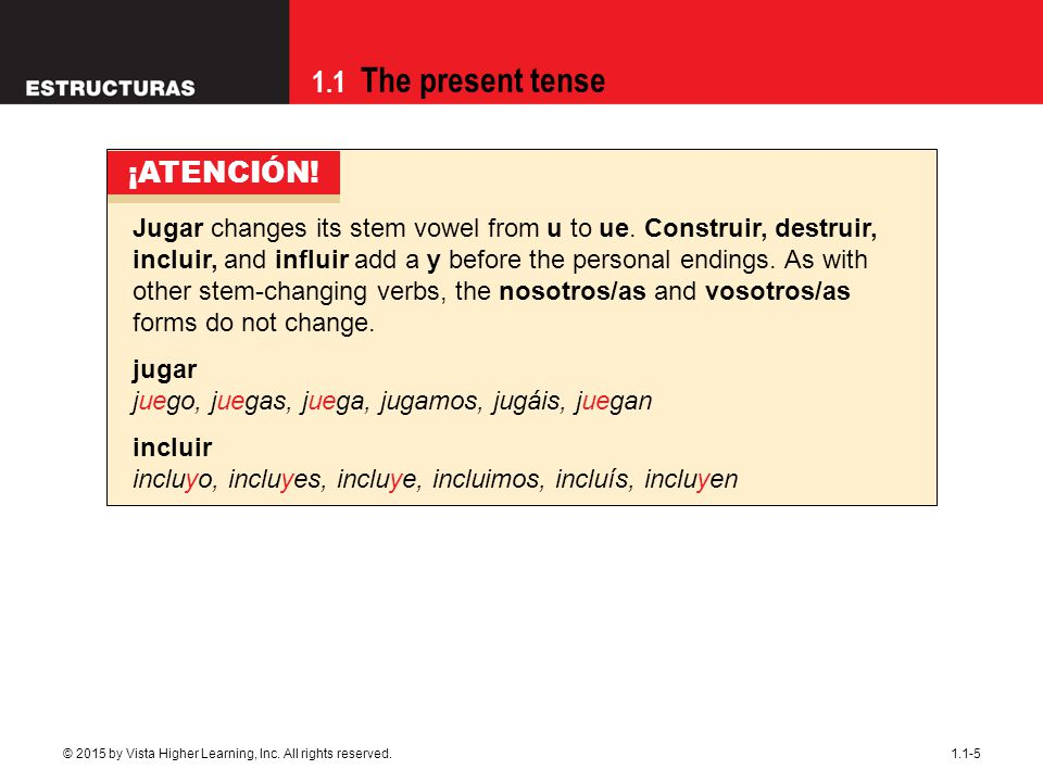 1.1 The present tense 1.1-5 Jugar changes its stem vowel from u to ue. Construir, destruir, incluir, and influir add a y before the personal endings.