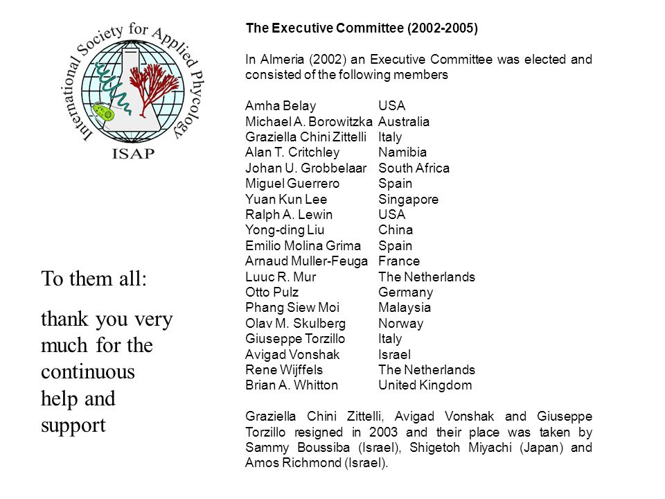 Honorary members of the ISAP : In Almeria (2002) the following scientists received from the ISAP the title of Distinguished Applied Phycologist for their outstanding contibution to this field of science: Prof.