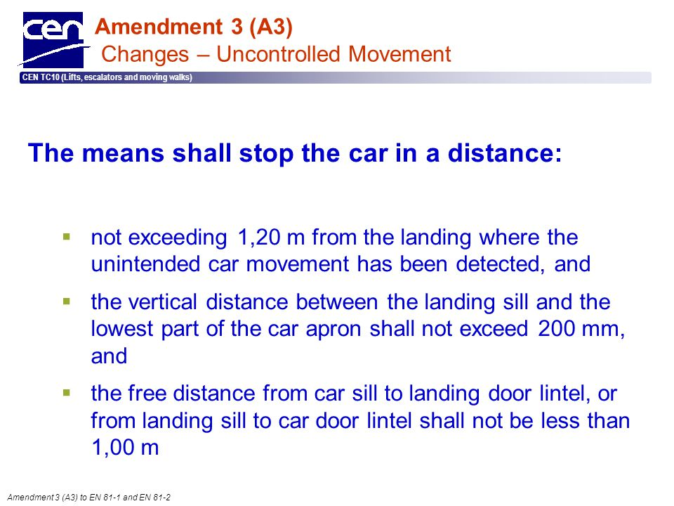  2005 CEN – all rights reserved CEN TC10 (Lifts, escalators and moving walks) Amendment 3 (A3) to EN 81-1 and EN 81-2 Amendment 3 (A3) Changes – Unco