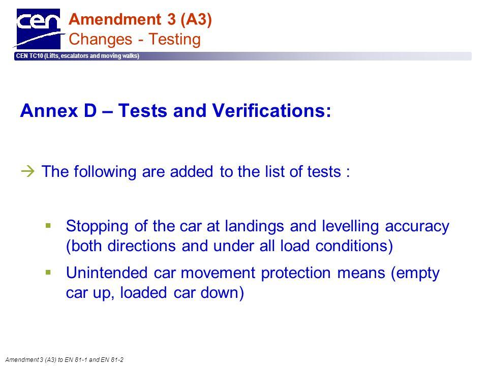  2005 CEN – all rights reserved CEN TC10 (Lifts, escalators and moving walks) Amendment 3 (A3) to EN 81-1 and EN 81-2 Amendment 3 (A3) Changes - Test