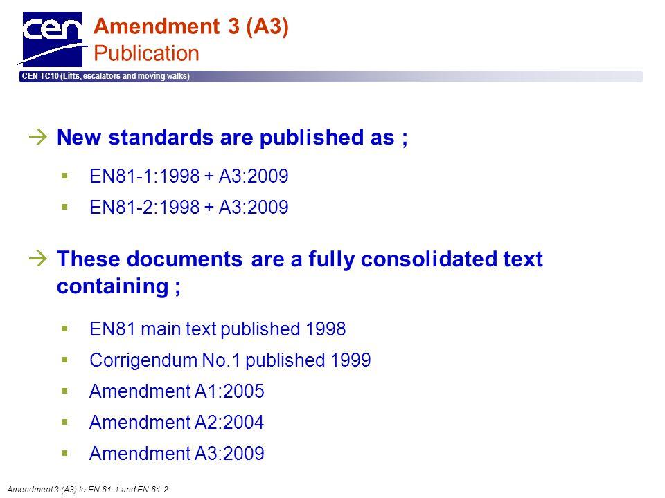  2005 CEN – all rights reserved CEN TC10 (Lifts, escalators and moving walks) Amendment 3 (A3) to EN 81-1 and EN 81-2 Amendment 3 (A3) Publication 