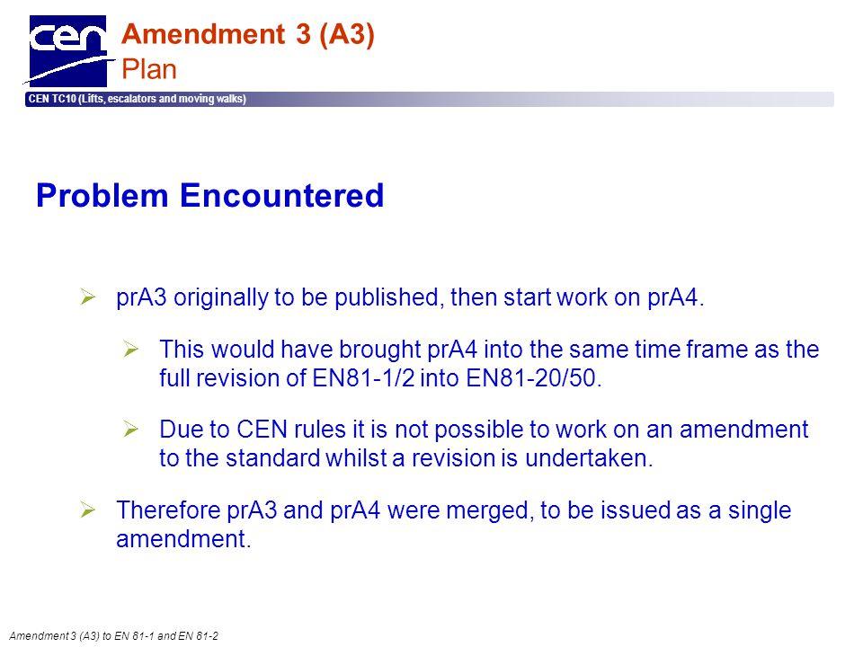  2005 CEN – all rights reserved CEN TC10 (Lifts, escalators and moving walks) Amendment 3 (A3) to EN 81-1 and EN 81-2 Amendment 3 (A3) Plan Problem E