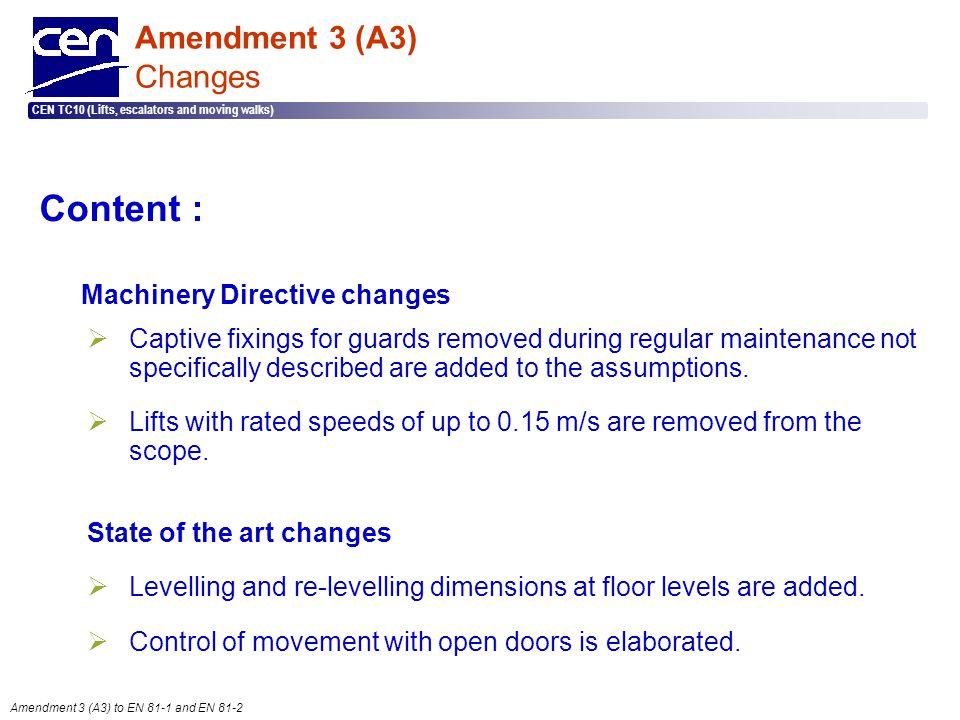  2005 CEN – all rights reserved CEN TC10 (Lifts, escalators and moving walks) Amendment 3 (A3) to EN 81-1 and EN 81-2 Amendment 3 (A3) Changes Conten