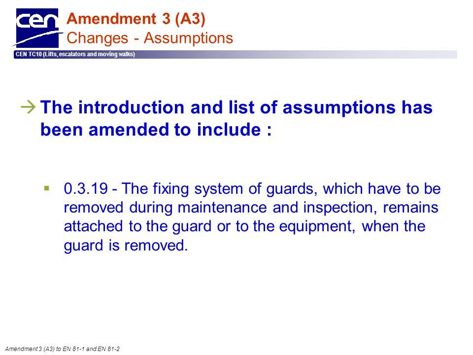  2005 CEN – all rights reserved CEN TC10 (Lifts, escalators and moving walks) Amendment 3 (A3) to EN 81-1 and EN 81-2 Amendment 3 (A3) Changes - Assu