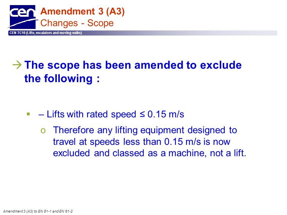  2005 CEN – all rights reserved CEN TC10 (Lifts, escalators and moving walks) Amendment 3 (A3) to EN 81-1 and EN 81-2 Amendment 3 (A3) Changes - Scop
