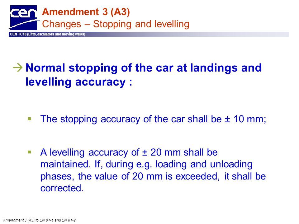  2005 CEN – all rights reserved CEN TC10 (Lifts, escalators and moving walks) Amendment 3 (A3) to EN 81-1 and EN 81-2 Amendment 3 (A3) Changes – Stop