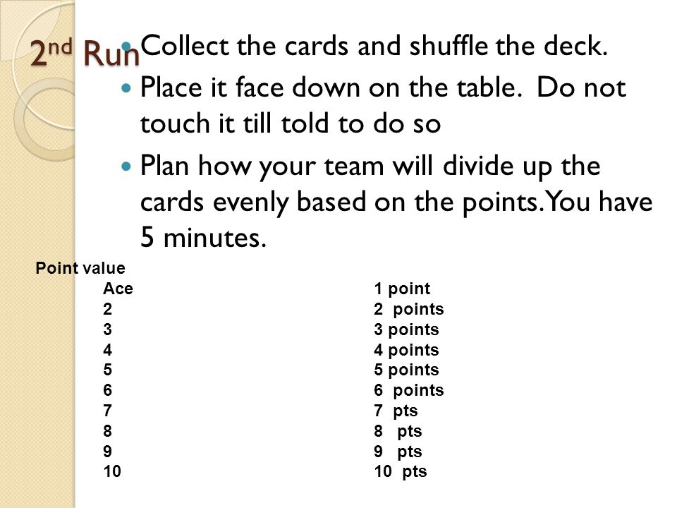 2 nd Run Collect the cards and shuffle the deck. Place it face down on the table.