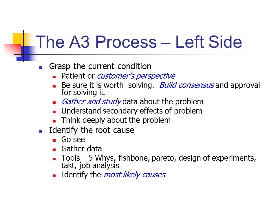 The A3 Process – Left Side Grasp the current condition Patient or customer's perspective Be sure it is worth solving.