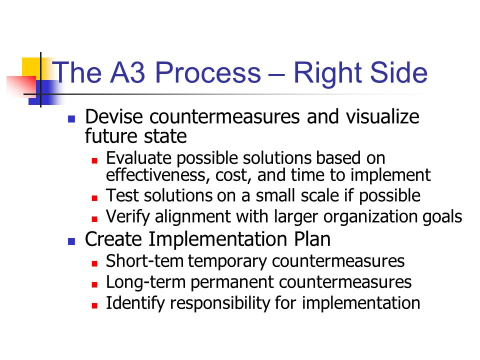 The A3 Process – Right Side Devise countermeasures and visualize future state Evaluate possible solutions based on effectiveness, cost, and time to implement Test solutions on a small scale if possible Verify alignment with larger organization goals Create Implementation Plan Short-tem temporary countermeasures Long-term permanent countermeasures Identify responsibility for implementation