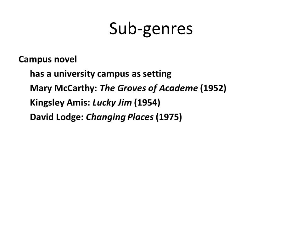 Sub-genres Campus novel has a university campus as setting Mary McCarthy: The Groves of Academe (1952) Kingsley Amis: Lucky Jim (1954) David Lodge: Ch