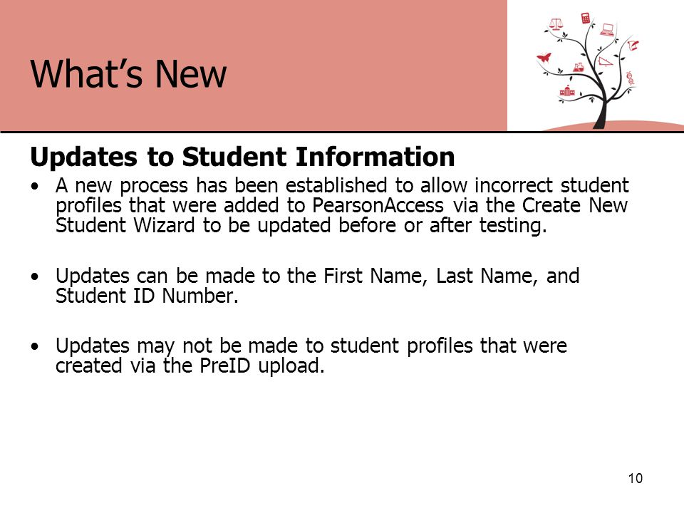 What's New Updates to Student Information A new process has been established to allow incorrect student profiles that were added to PearsonAccess via the Create New Student Wizard to be updated before or after testing.