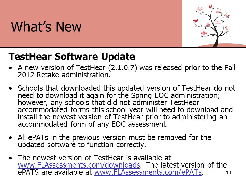 What's New TestHear Software Update A new version of TestHear (2.1.0.7) was released prior to the Fall 2012 Retake administration.
