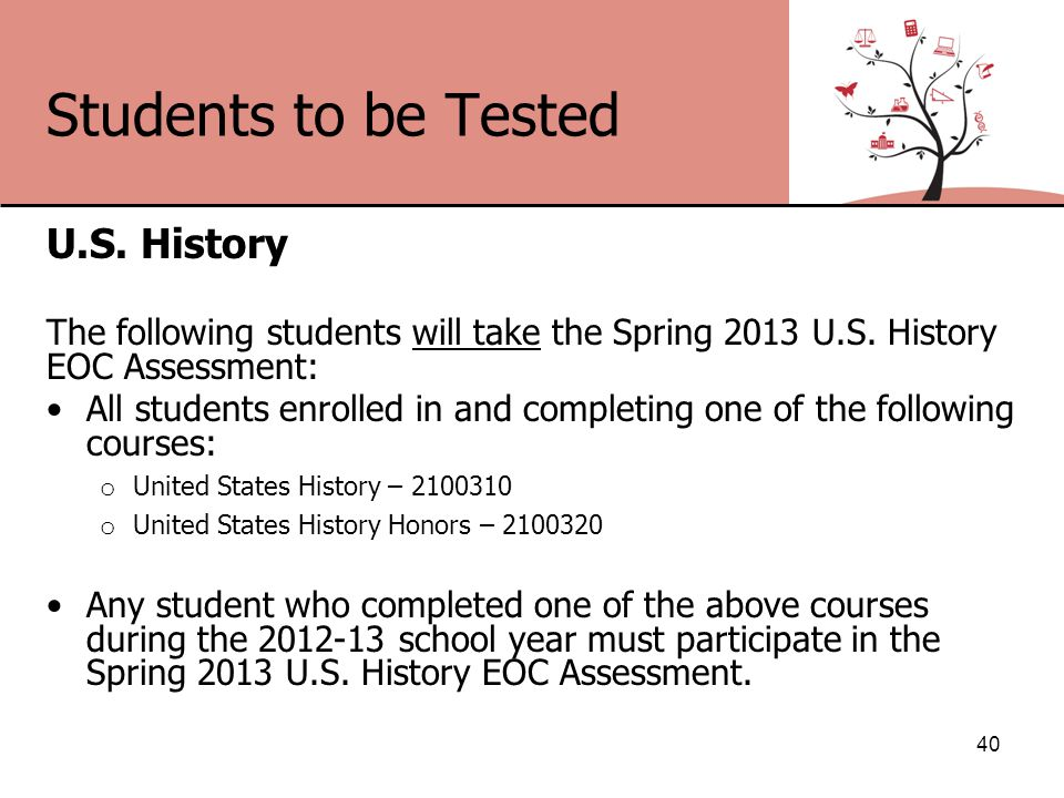 Students to be Tested U.S. History The following students will take the Spring 2013 U.S.