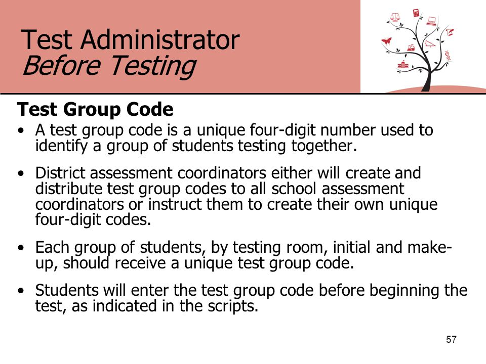 Test Administrator Before Testing Test Group Code A test group code is a unique four-digit number used to identify a group of students testing together.