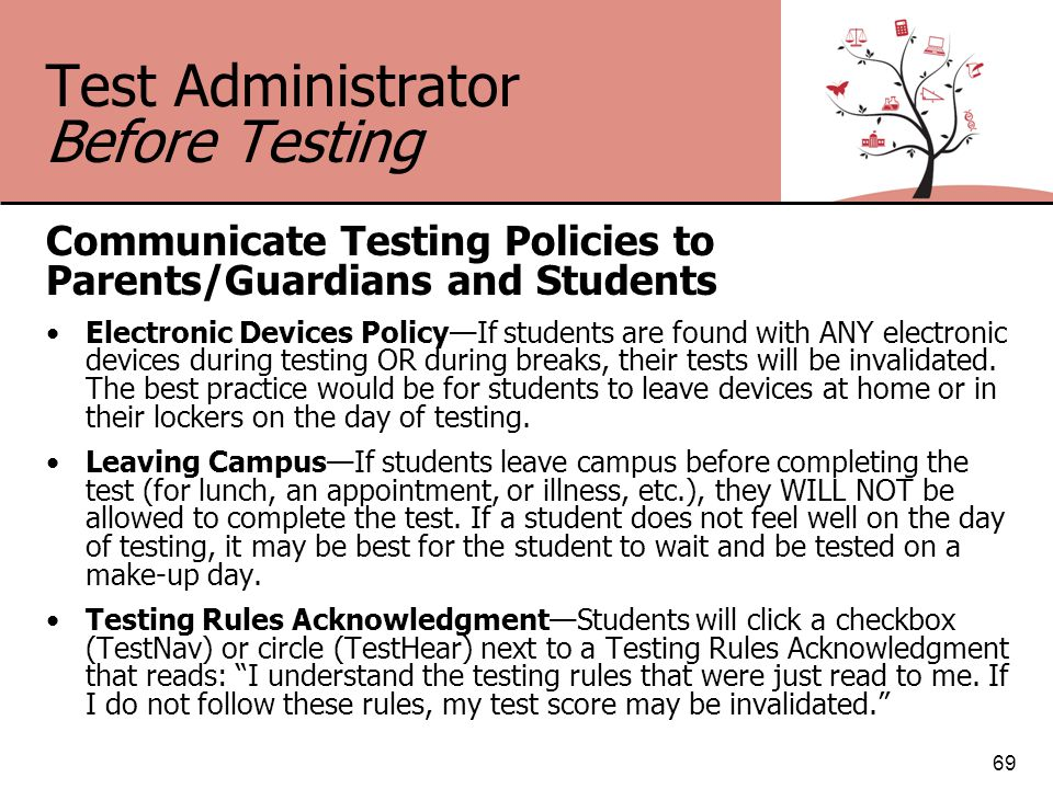 Test Administrator Before Testing Communicate Testing Policies to Parents/Guardians and Students Electronic Devices Policy—If students are found with ANY electronic devices during testing OR during breaks, their tests will be invalidated.