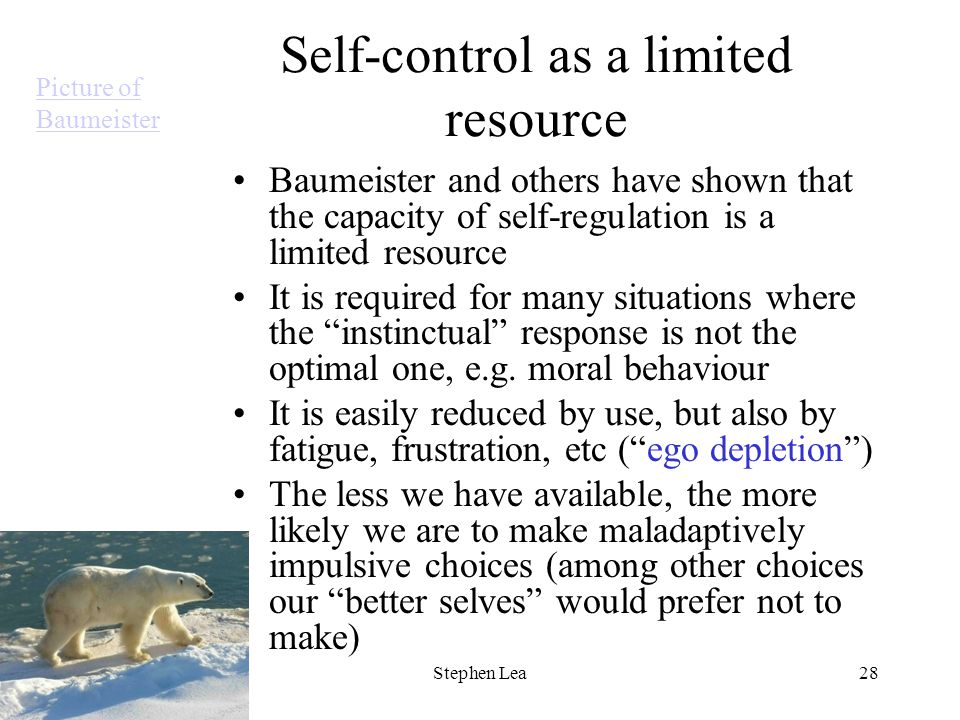ICABEEP Summer School, 2010 Stephen Lea28 Self-control as a limited resource Baumeister and others have shown that the capacity of self-regulation is a limited resource It is required for many situations where the instinctual response is not the optimal one, e.g.