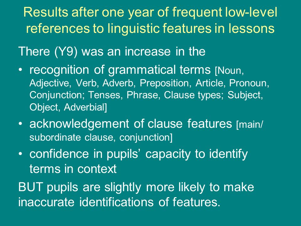 Results after one year of frequent low-level references to linguistic features in lessons There (Y9) was an increase in the recognition of grammatical