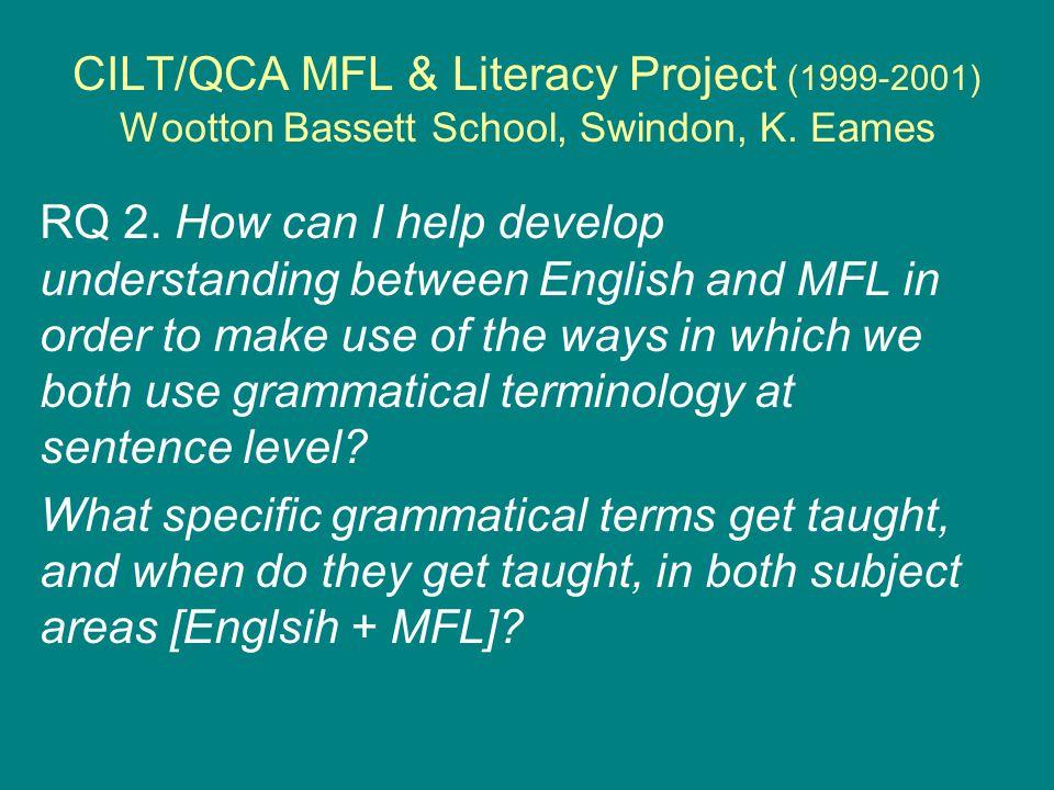 CILT/QCA MFL & Literacy Project (1999-2001) Wootton Bassett School, Swindon, K.