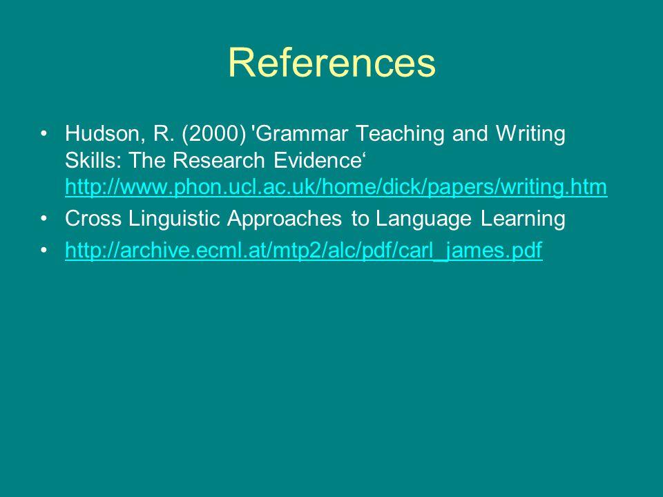 References Hudson, R.