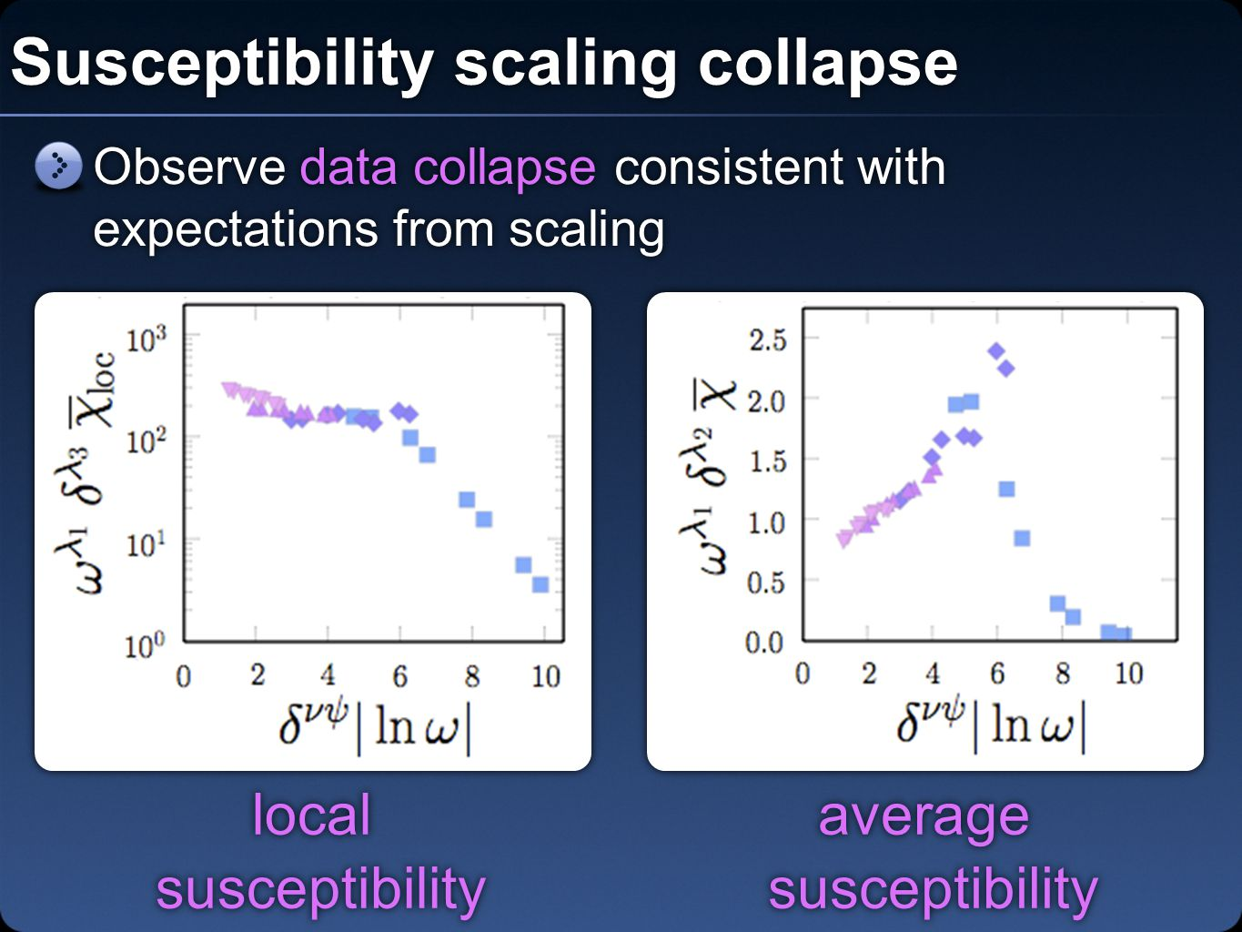 Susceptibility scaling collapse average susceptibility average susceptibility local susceptibility local susceptibility Observe data collapse consistent with expectations from scaling