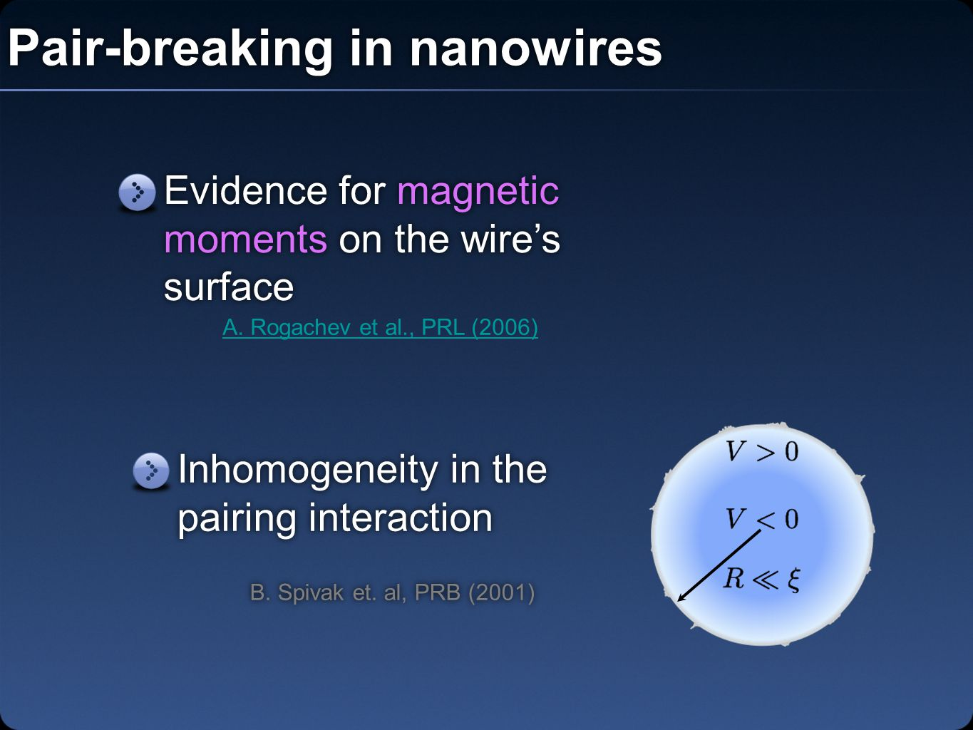 Pair-breaking in nanowires Evidence for magnetic moments on the wire's surface A.