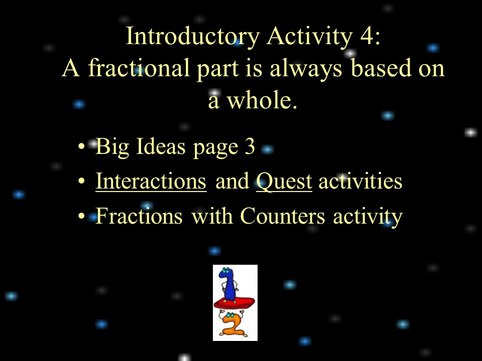 Introductory Activity 4: A fractional part is always based on a whole.