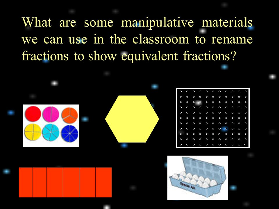 What are some manipulative materials we can use in the classroom to rename fractions to show equivalent fractions?