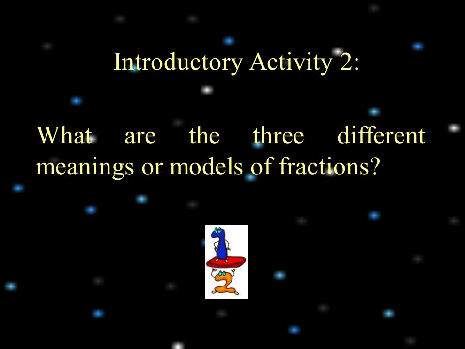Introductory Activity 2: What are the three different meanings or models of fractions?